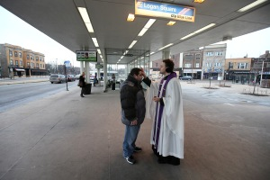 "Image: Christians Celebrate Ash Wednesday With ""Ashes To Go"" At A Chicago L Train Stop"